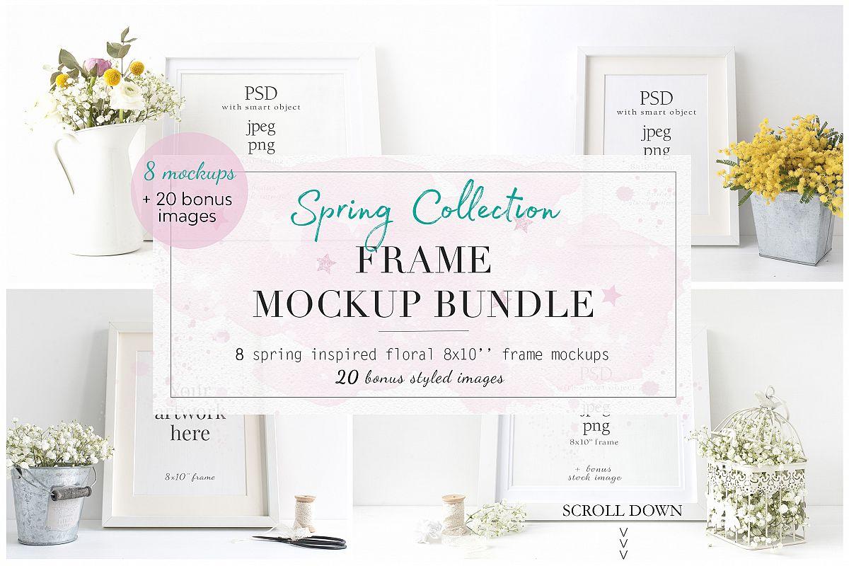 Spring Floral 8× Frame Mockup Bundle example image 1
