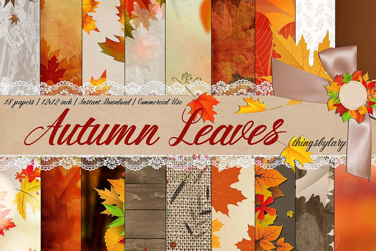 18 Autumn Leaves Digital Papers, thanksgiving fall wedding example image 1