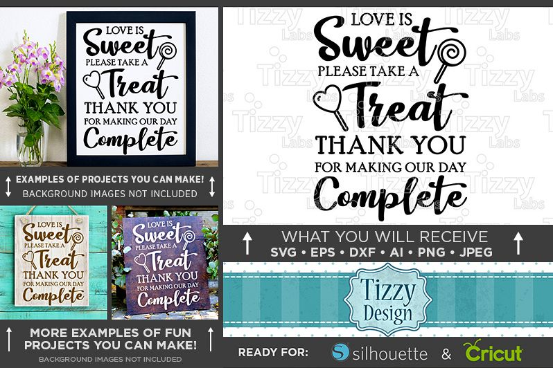 Love Is Sweet Please Take A Seat Wedding SVG File - 5506 example image 1