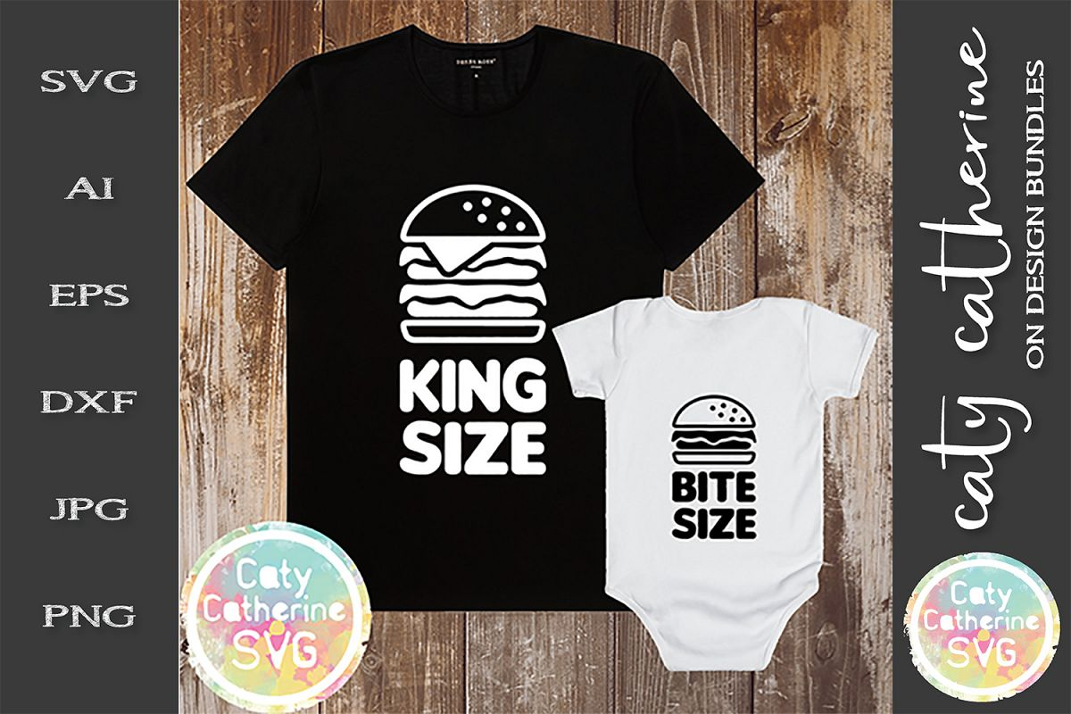 King Size & Bite Size Daddy & Baby Tee Design SVG Cut File example image 1