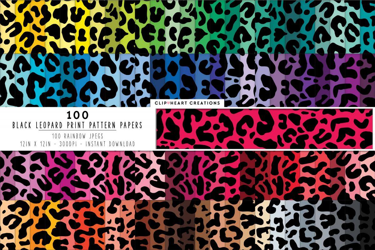 72d3682246fa7 100 Leopard Print Pattern Digital Papers - rainbow colors