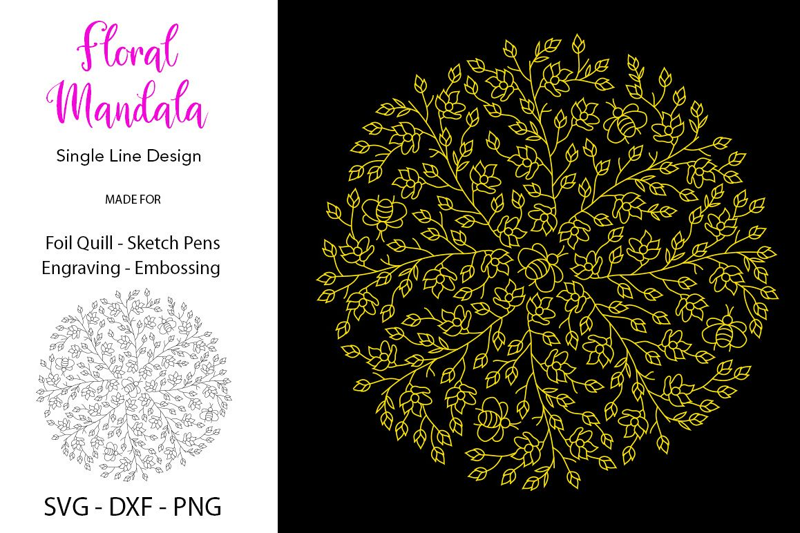 Floral Mandala SVG for Foil Quill example image 1