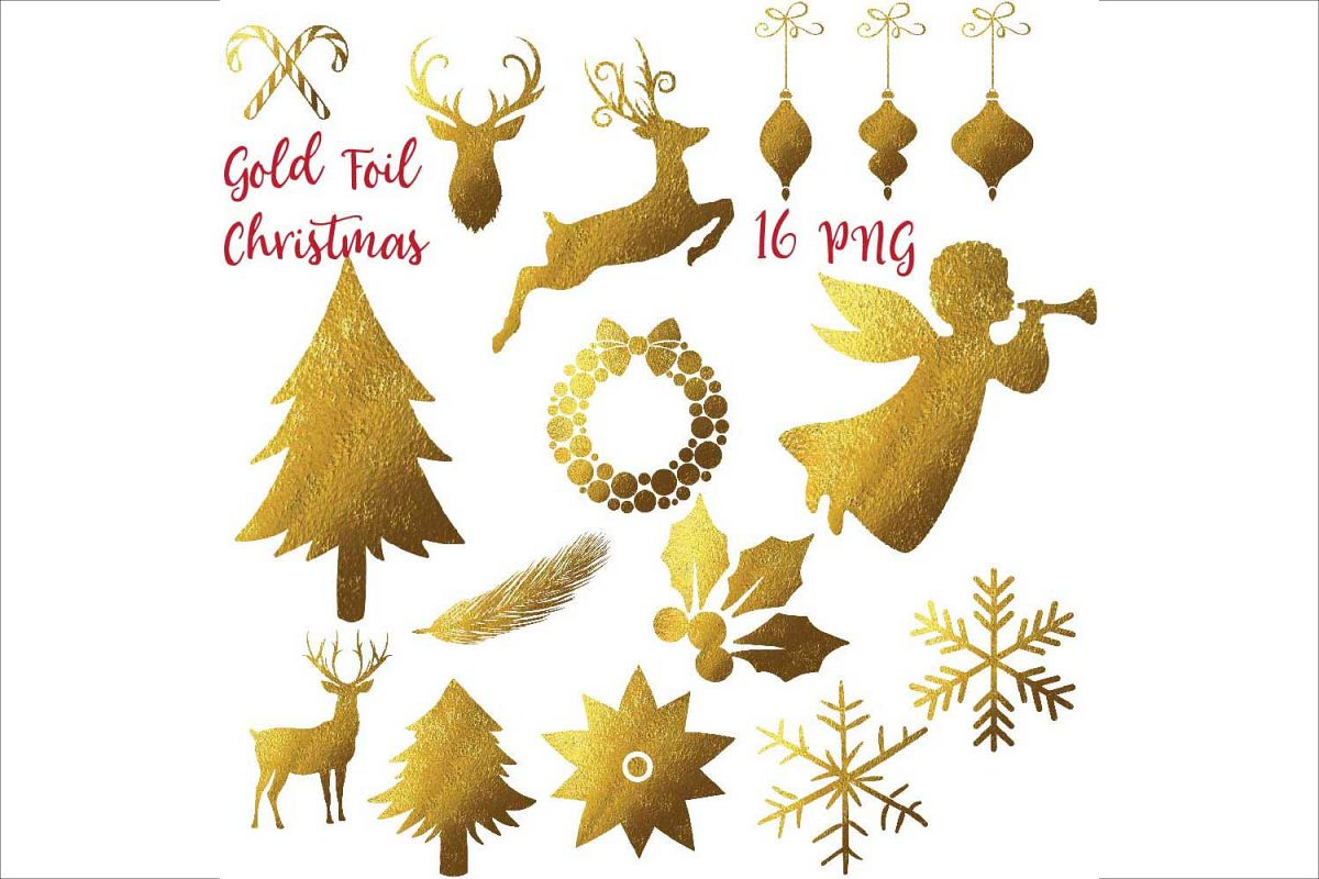 Gold Foil Christmas Clipart example image 1