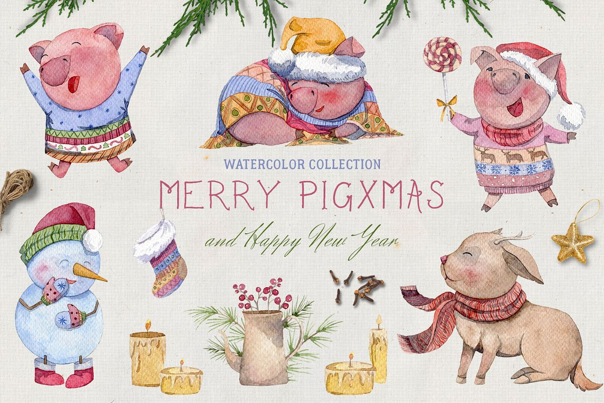 Merry pigsmas. Watercolor collection example image