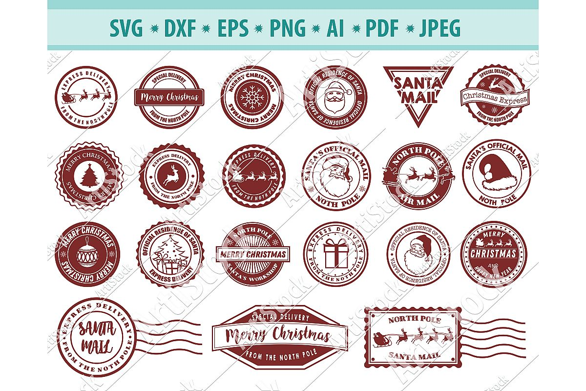 North pole svg, Christmas stamp svg, Mail Svg, Dxf, Png, Eps example image 1