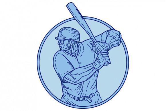 Baseball Player Batter Batting Circle Mono Line example image 1