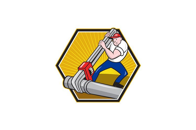 Plumber Worker With Adjustable Wrench Cartoon example image 1