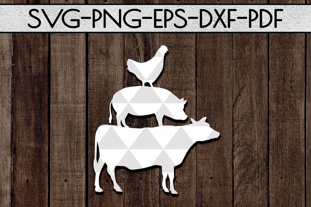 Farm Animal Papercut Template, Farmhouse Themed, PDF, SVG example image 1