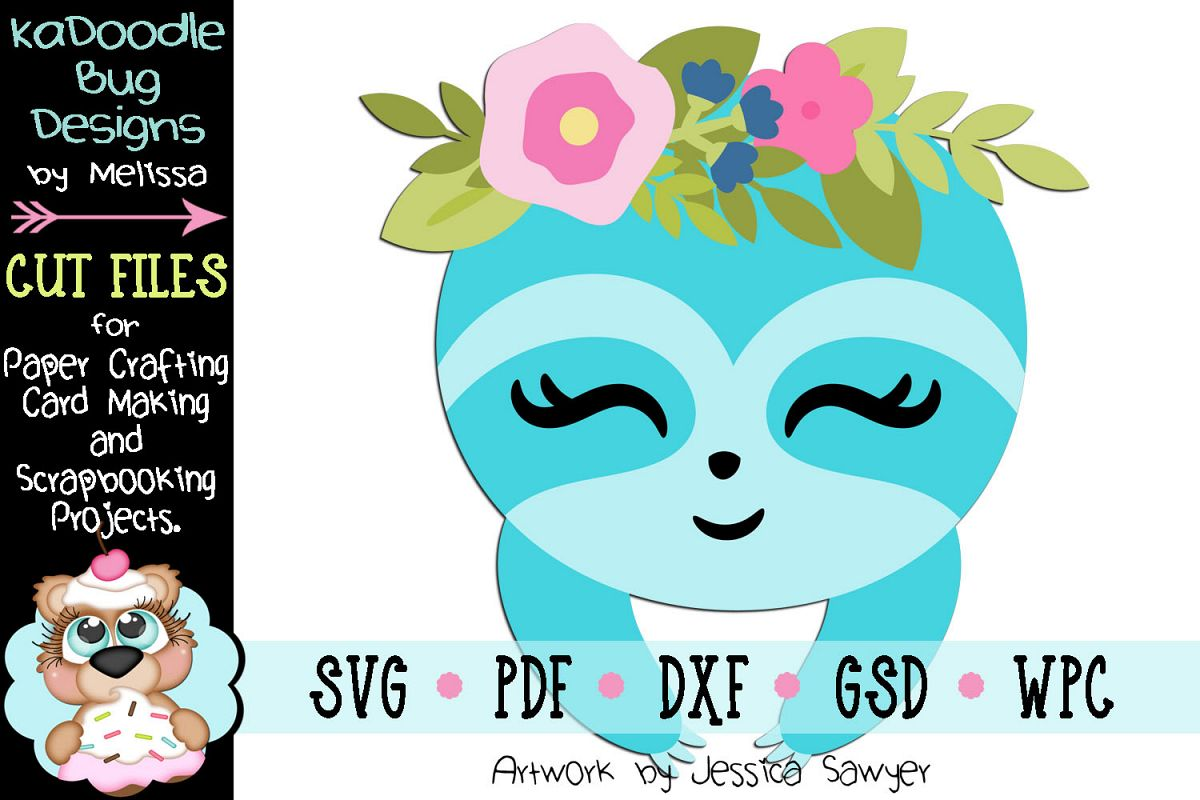 Easter Spring Sloth Peeker Cut File - SVG PDF DXF GSD WPC example image 1