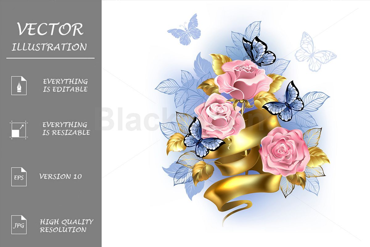 Pink Roses with Gold Ribbon example image 1