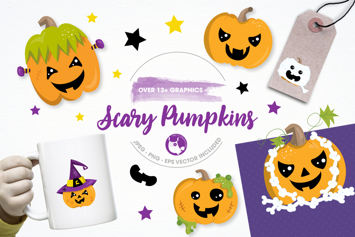 scary pumpkin halloween graphics and illustrations example image 1