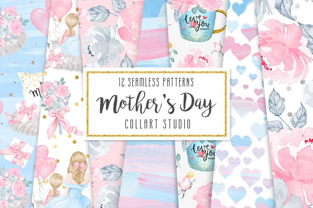 Mother's Day Digital Papers, Mother Child seamless patterns example image 1