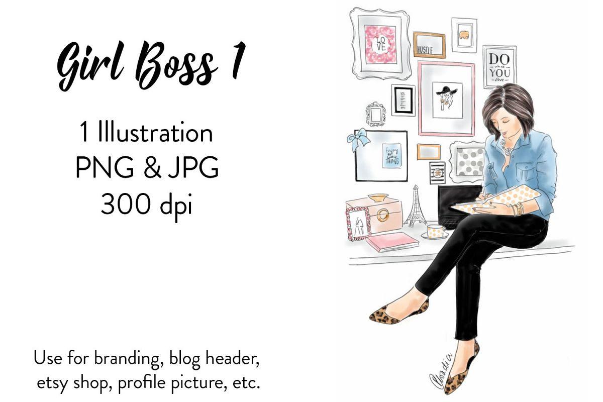 Fashion illustration Girl Boss 1, Watercolour illustration example image 1