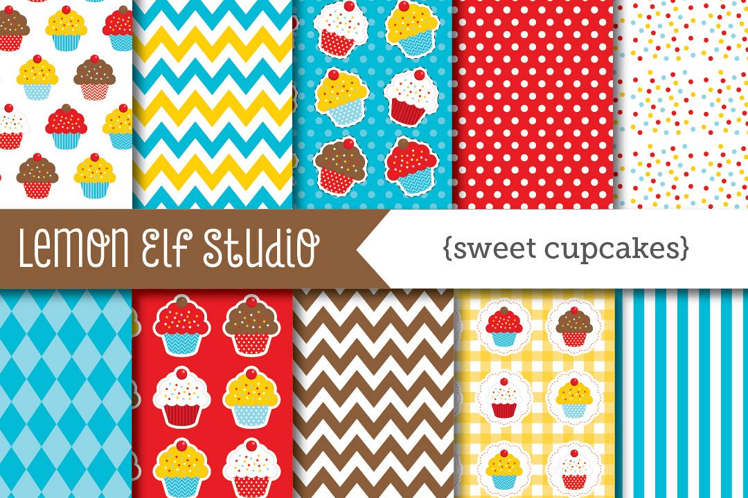 Sweet Cupcakes-Digital Paper (LES.DP04A) example image 1