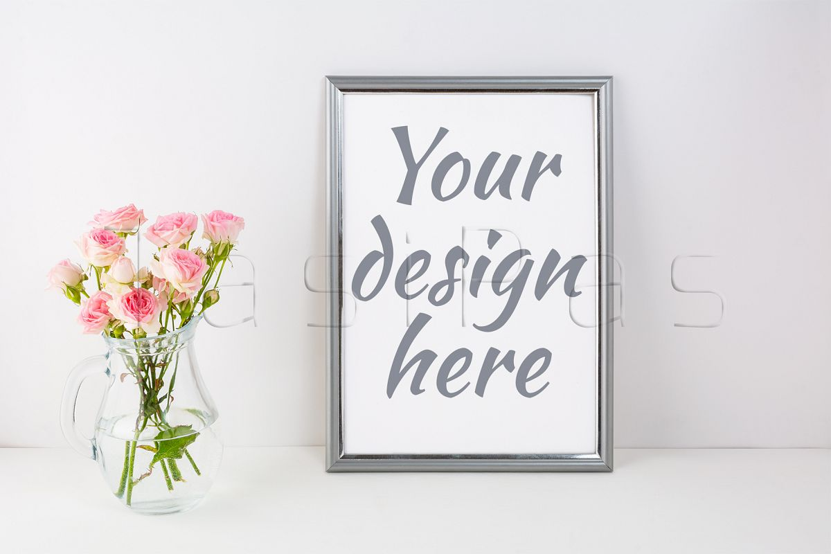 Silver frame mockup with pink roses example image 1