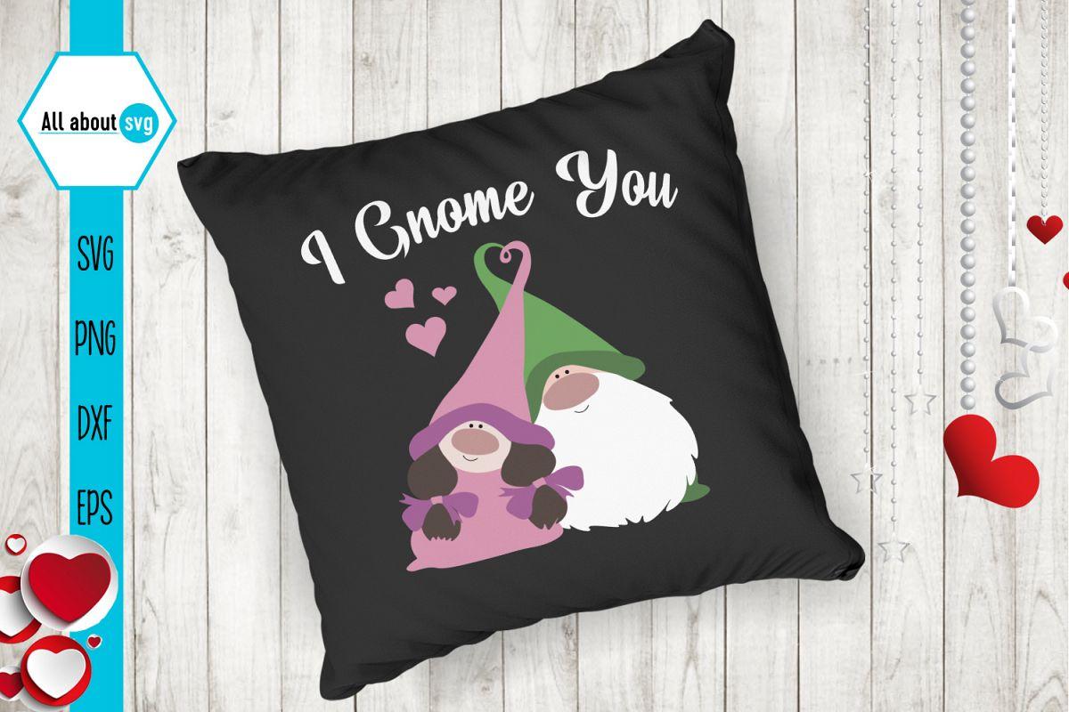 I Gnome You Svg, Valentine's Svg, Gnome In Love Svg example image 1