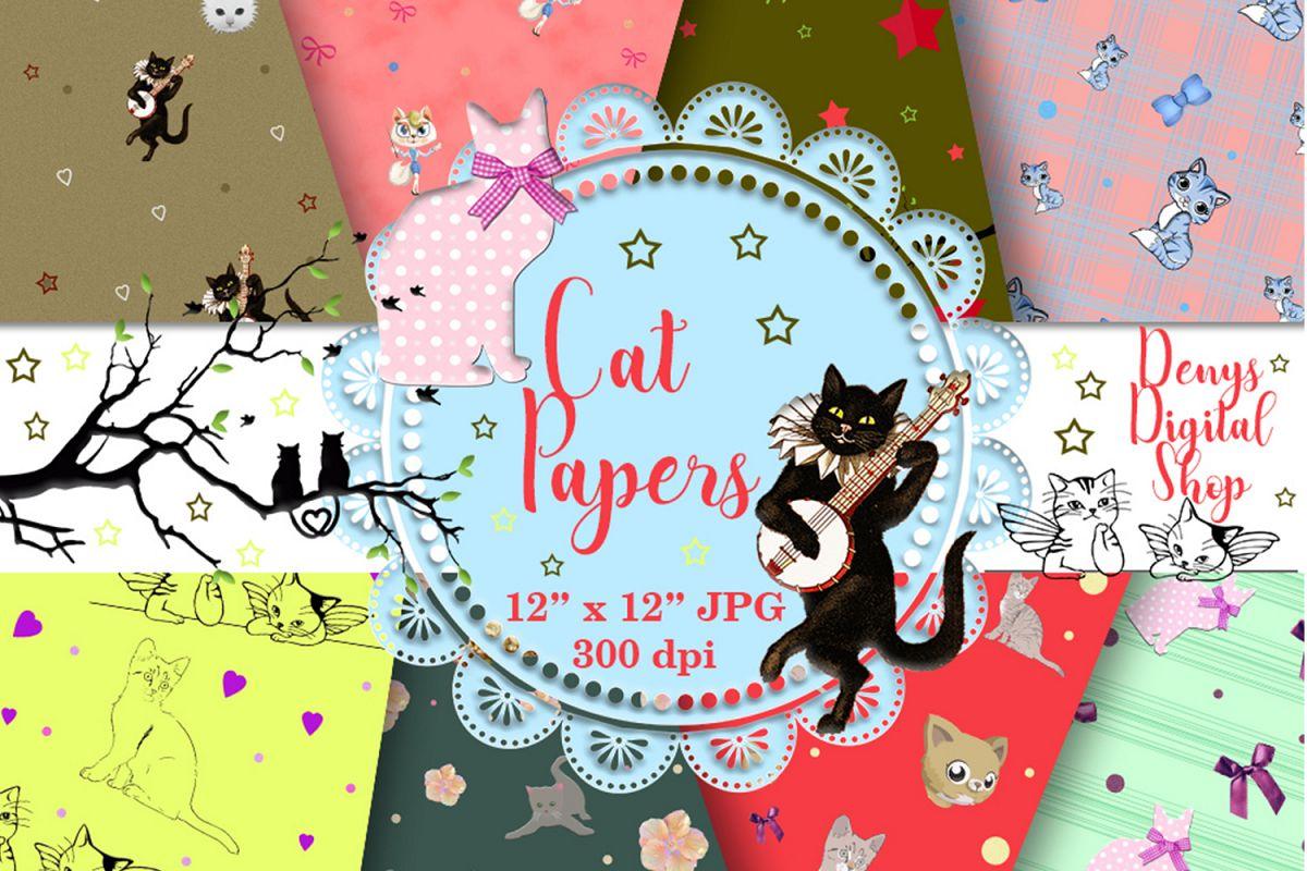 Cat Digital Paper Cat Scrapbook Cat P Design Bundles
