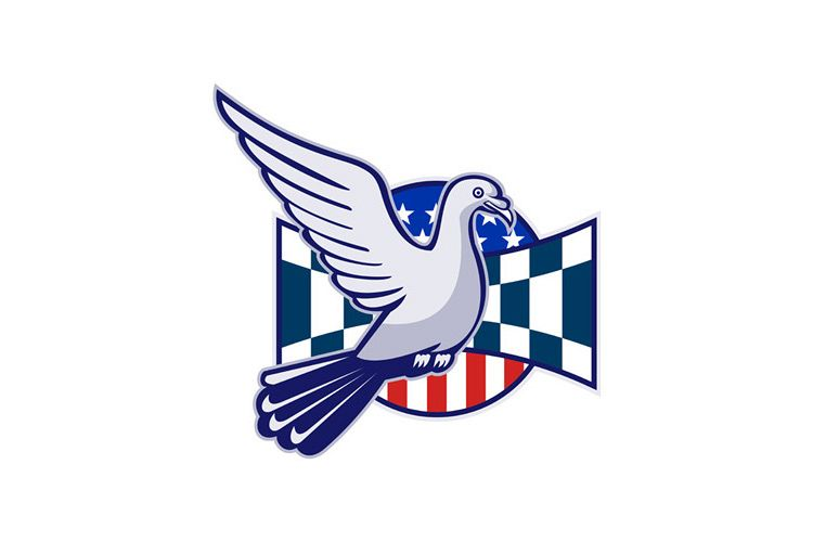 Racing Pigeon Race Flag American Stars Stripes example image 1