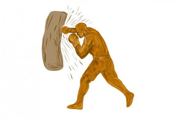 Boxer Punching Bag Drawing example image 1