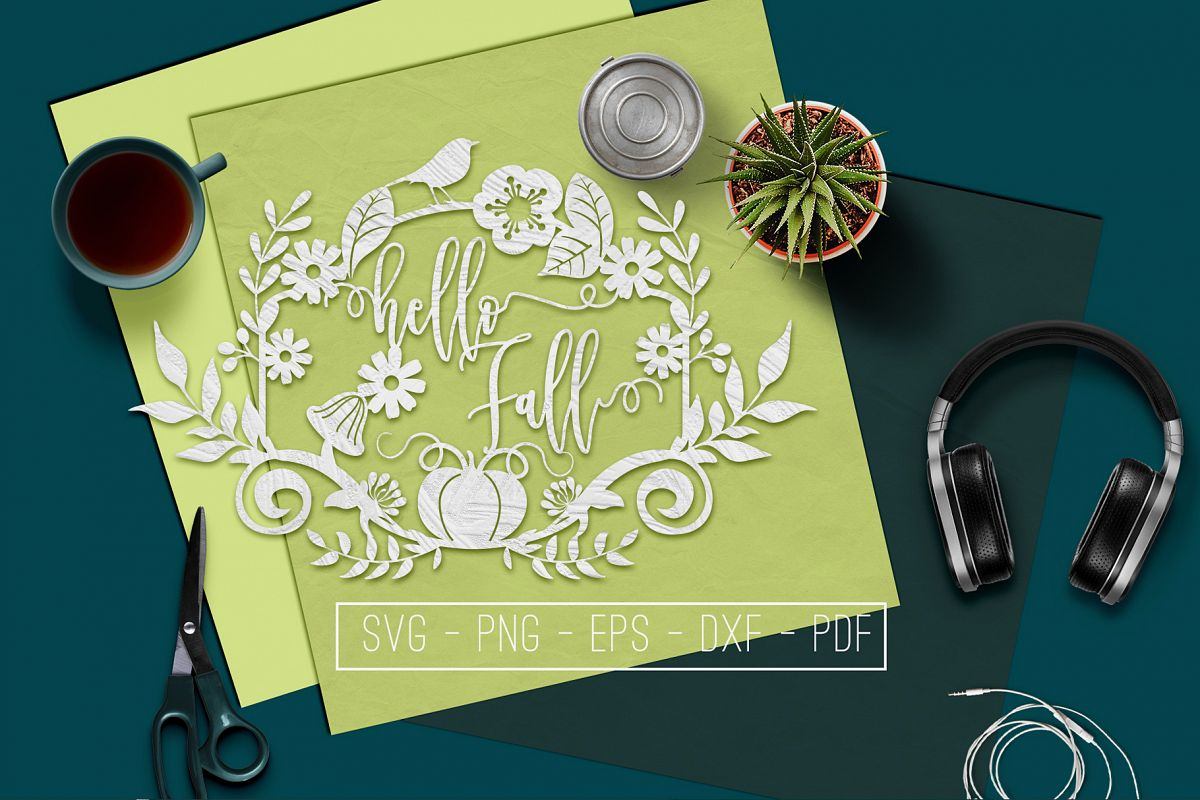 Hello Fall SVG Cutting File, Leaves, Autumn DXF, EPS, PNG example image 1