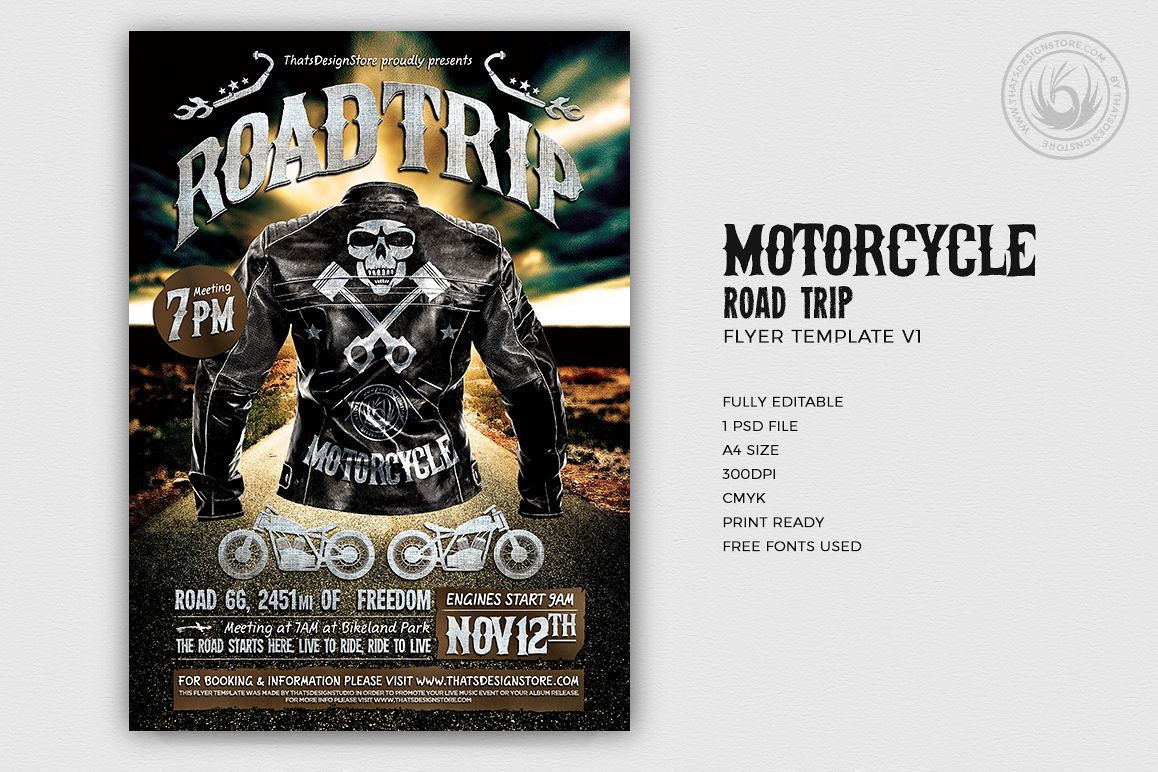 motorcycle road trip flyer template v1 example image