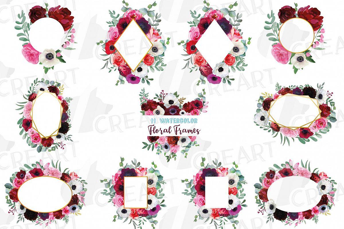 Watercolor elegant floral borders, rose, anemone frames example image 1