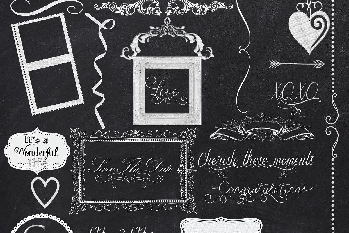 44 dressed up chalkboard elements clip design bundles
