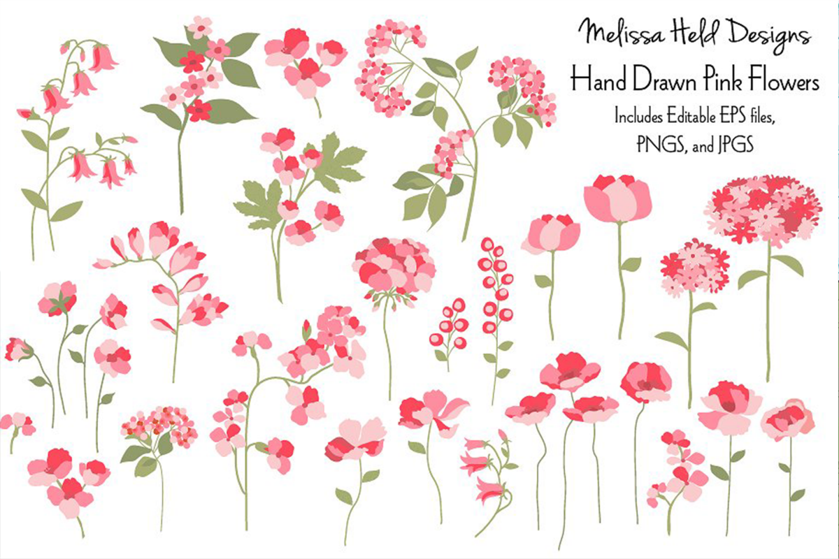 Hand Drawn Pink Flowers example image 1