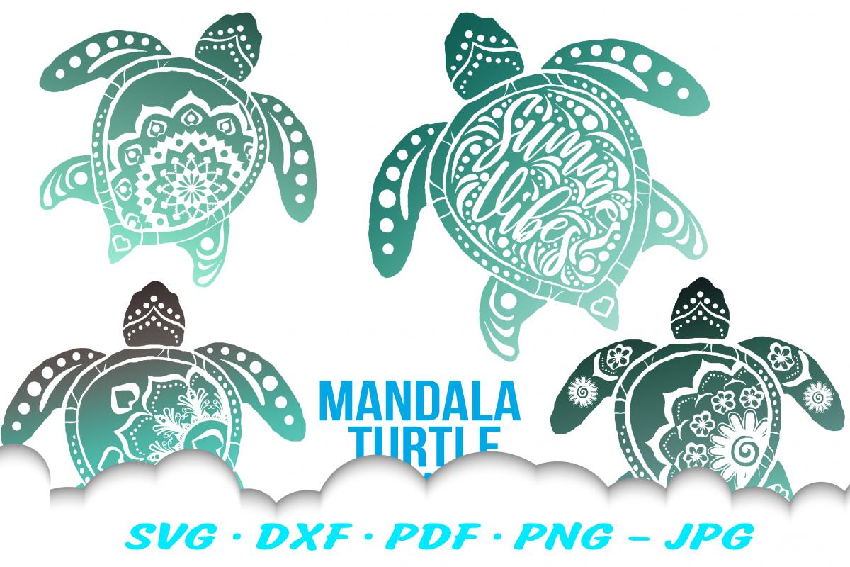 Mandala Sea Turtle SVG DXF Cut Files Bundle example image 1