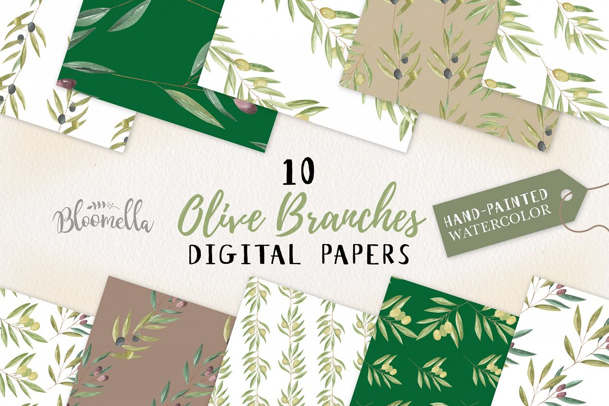 Olive Branches Seamless Patterns Digital Papers Greenery example image 1