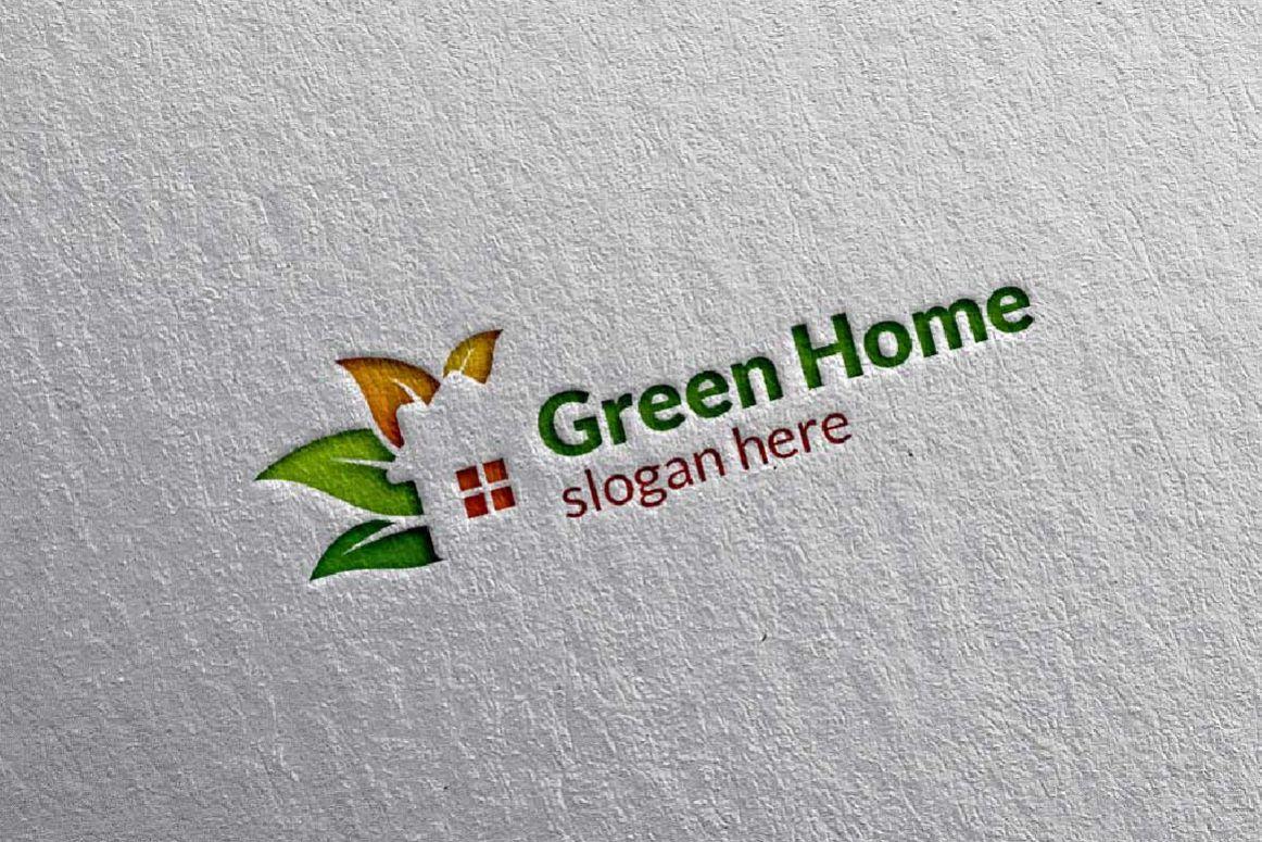 Real estate Logo, Green Home Logo 5 example image 1