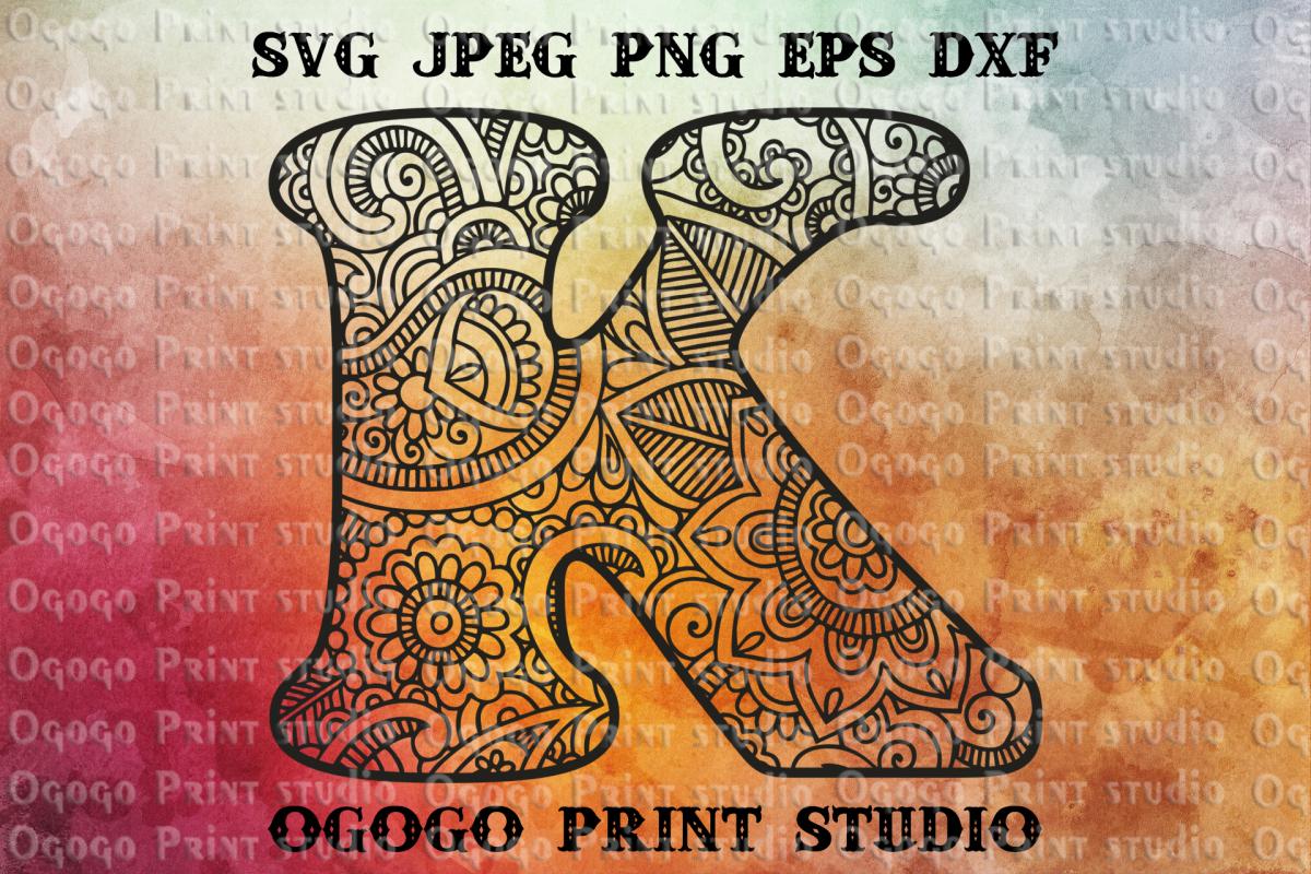 Alphabet Letter SVG Floral font Mandala svg Zentangle SVG