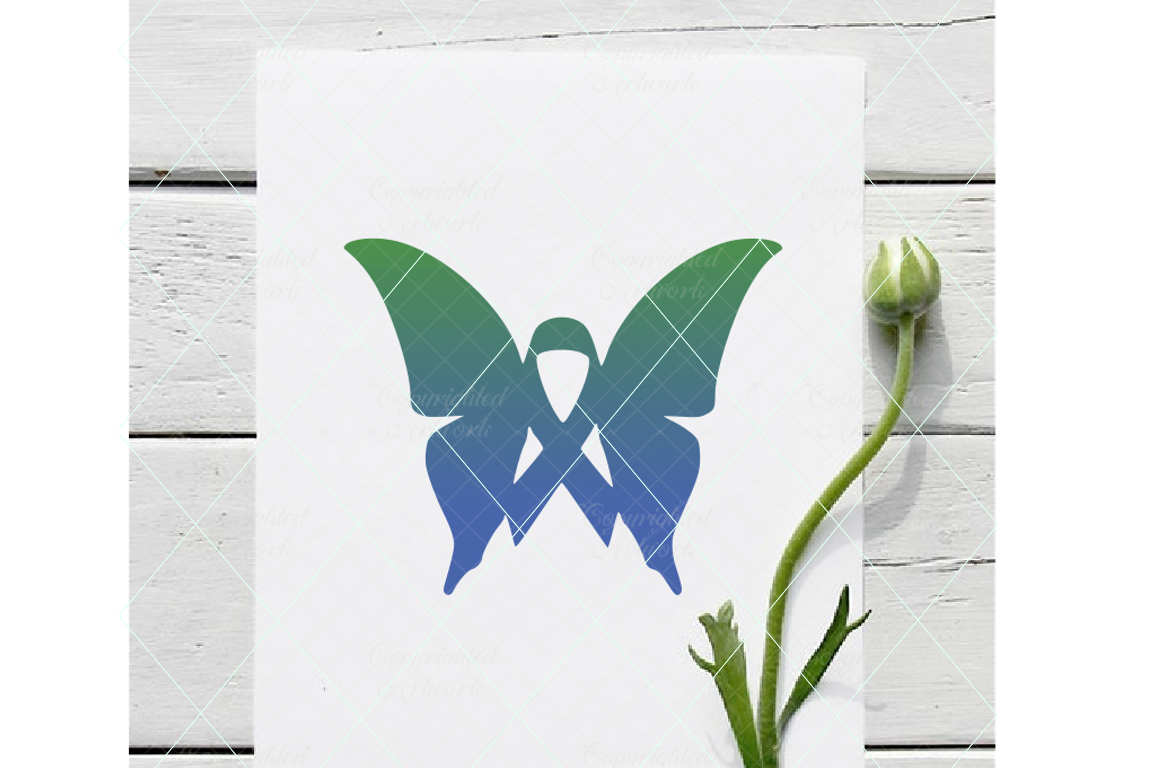Butterfly ribbon, cancer svg, cancer awareness svg, ribbon example image 1