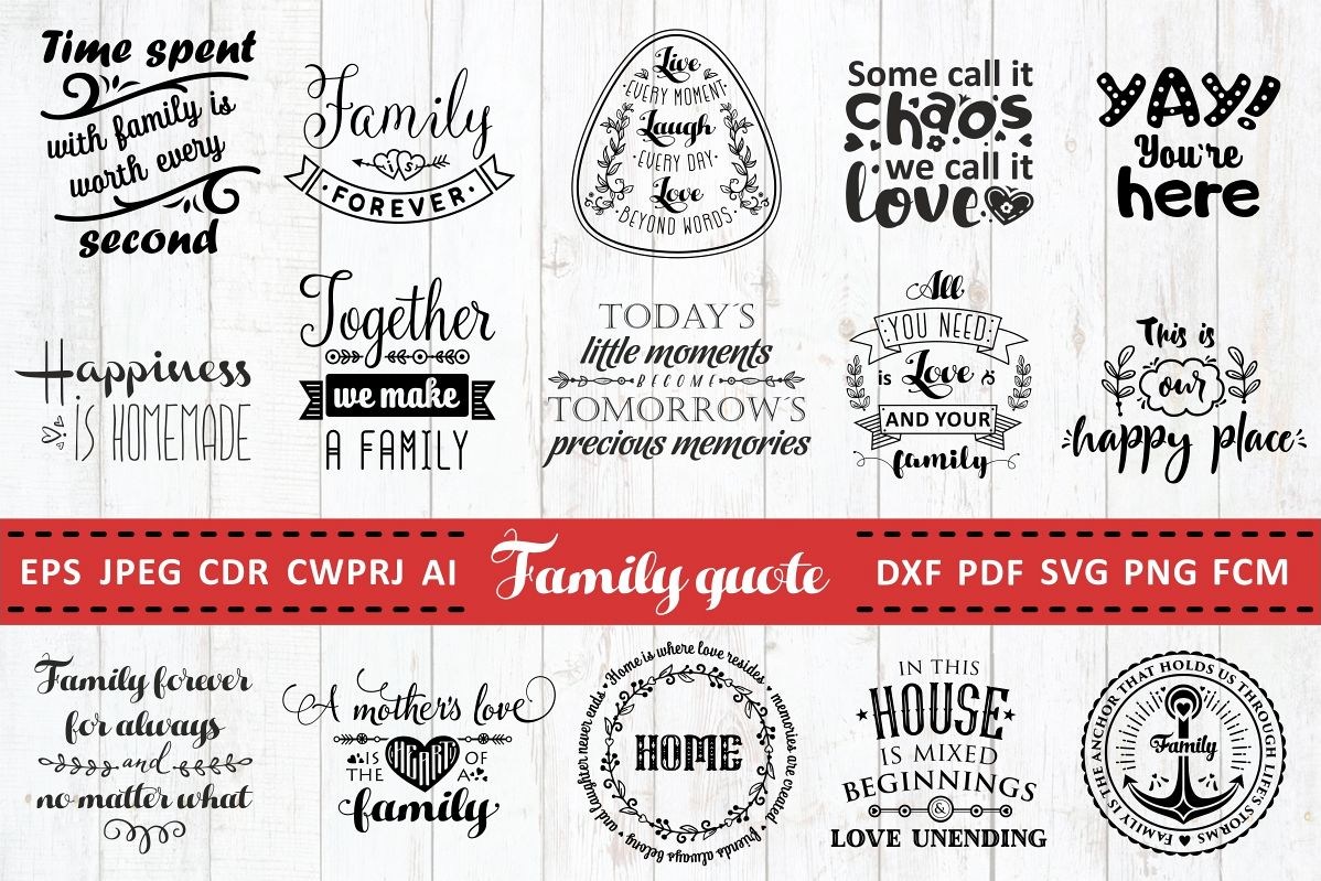 Love Family Quotes. SVG bundle. Vol. 1 example image 1