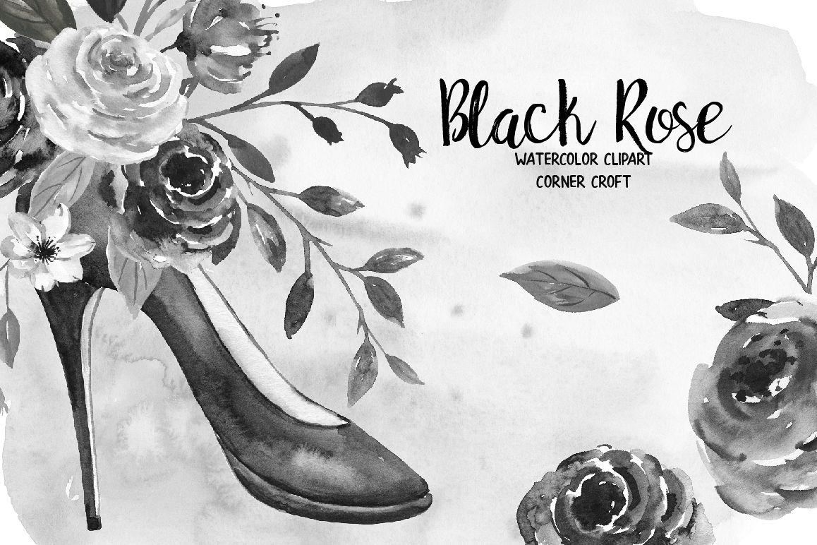 Watercolor Black Rose Clip Art example image 1