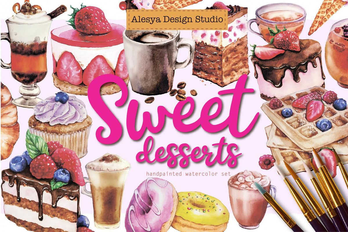 Sweet desserts - watercolor illustrations cakes and coffee example image 1