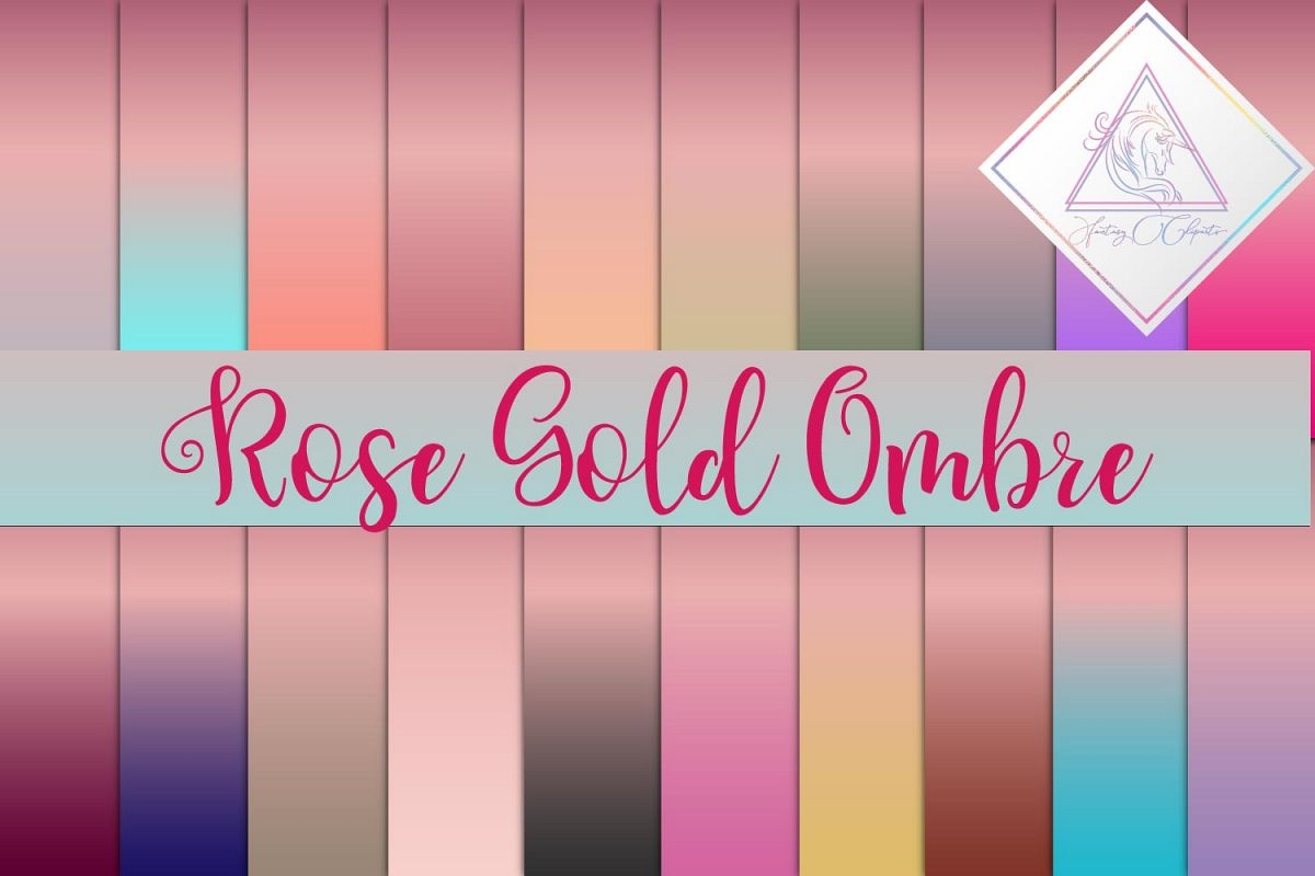 Rose Gold Ombre Digital Paper example image 1