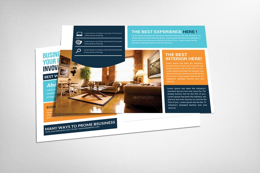 Interior House Decoration Postcard Template example image 1