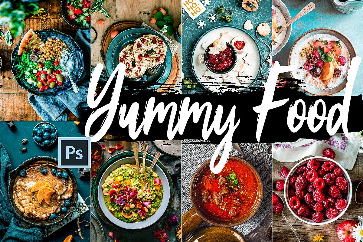Neo Yummy Food Theme Color Grading photoshop actions example image 1