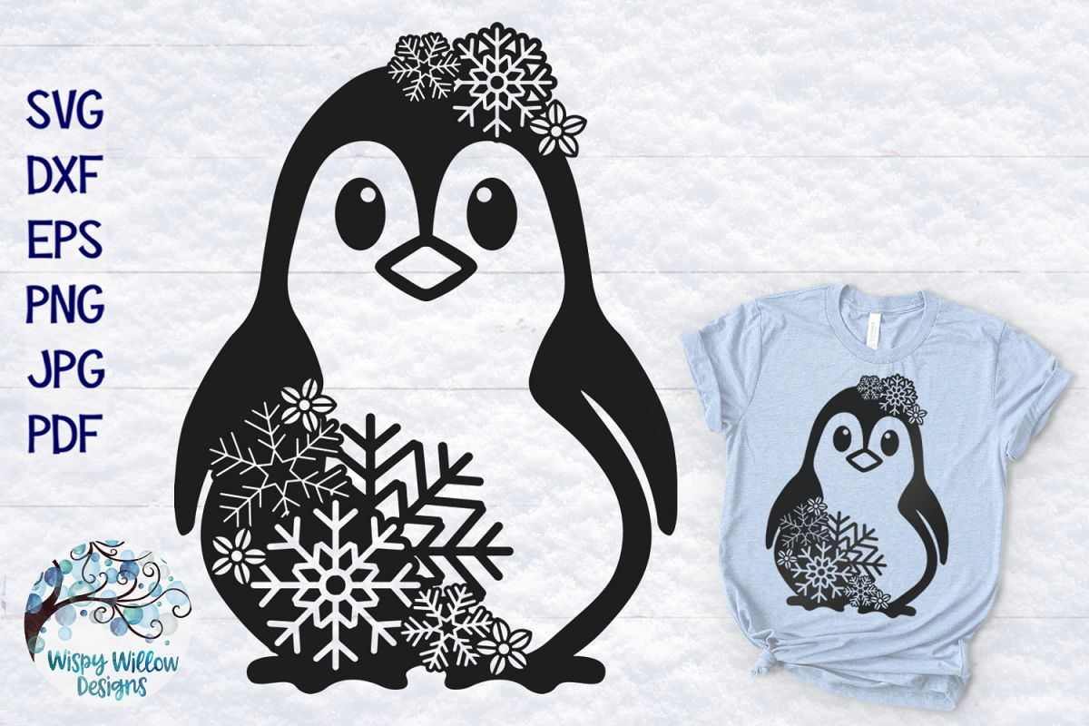 Snowflake Penguin SVG | Winter Penguin SVG Cut File example image 1