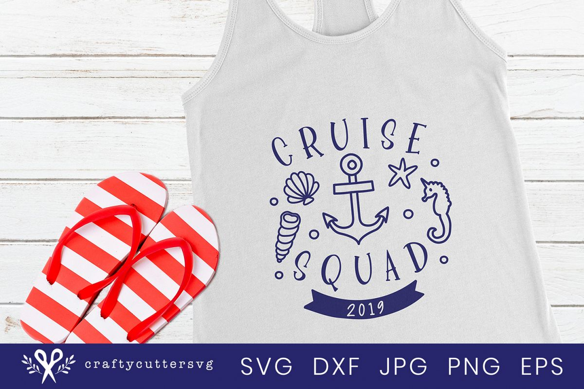 Cruise squad 2019 Svg Cut File Anchor Seahorse Clipart example image 1