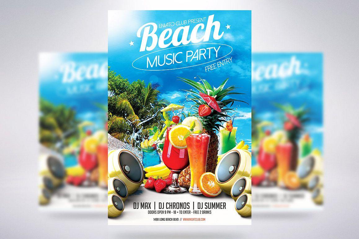 beach party flyer by creative dude design bundles