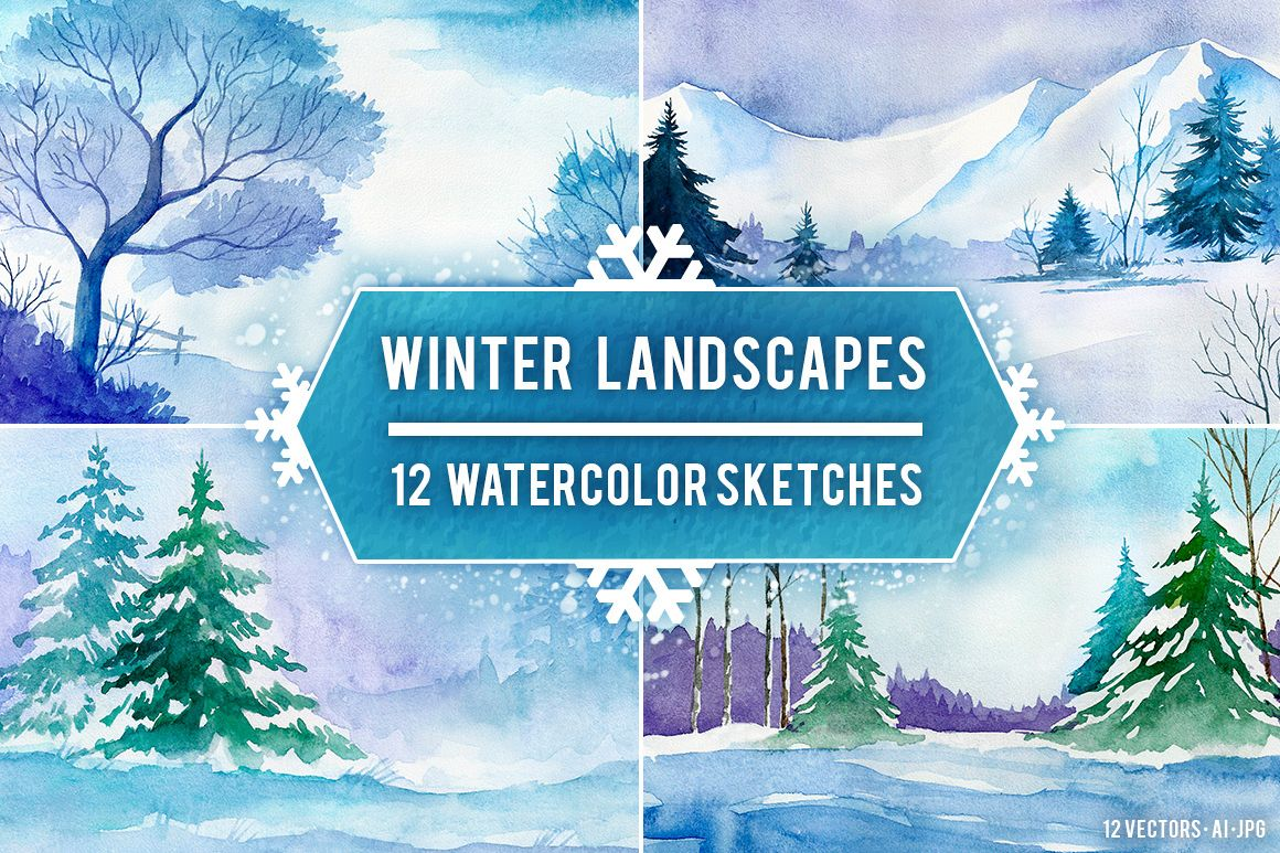 Winter Landscapes. Watercolor. example image 1