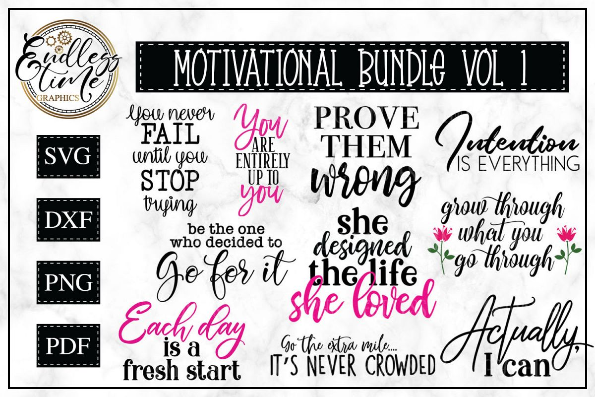 Motivational Quotes SVG Bundle -10 Unique Quotes example image 1