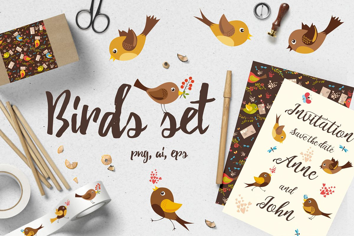 Birds set (vector,jpg,png) example image 1