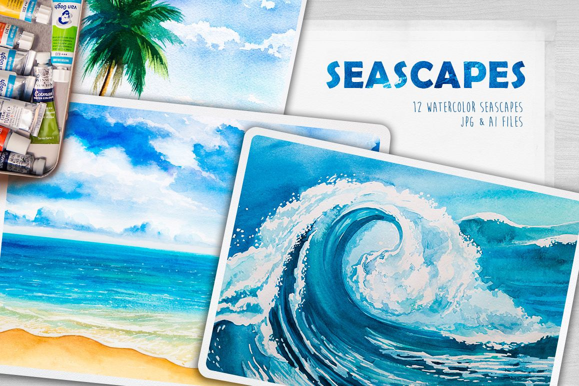 Seascapes. Watercolor illustrations. example image 1