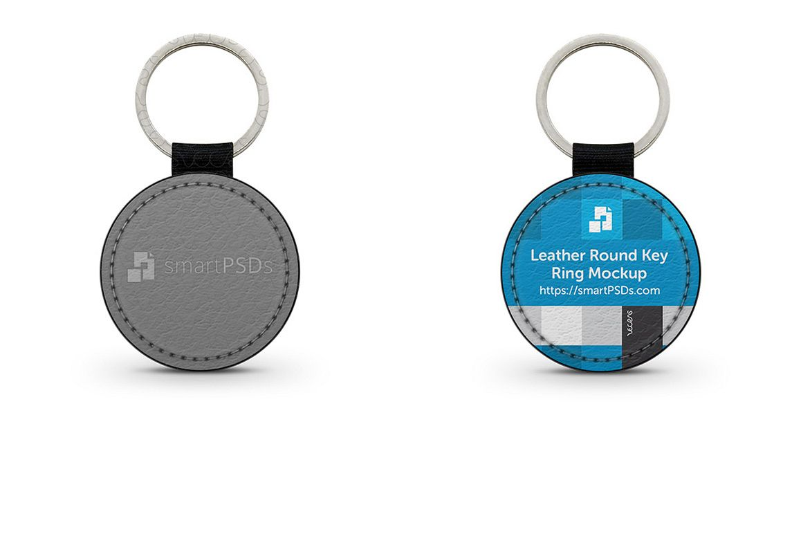 Round Shape Leather Keyring Design Mockup example image 1