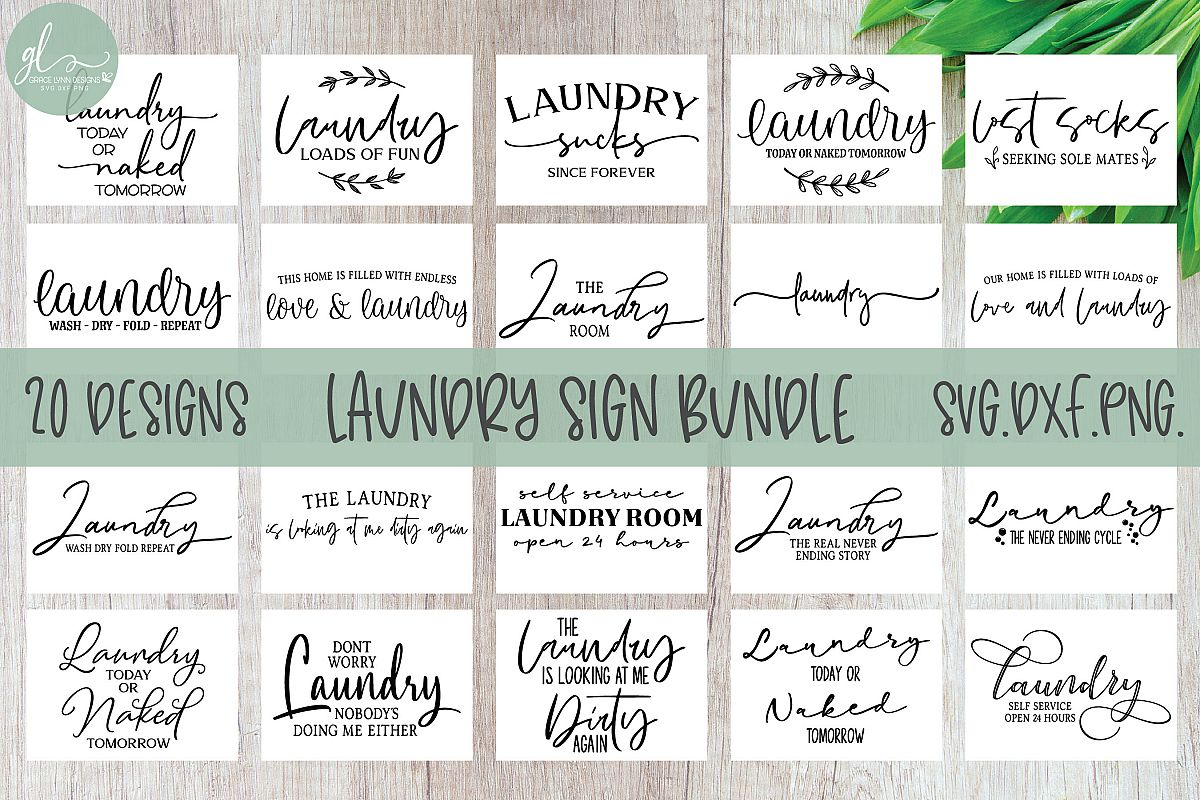 Laundry Sign Bundle - 20 Designs - SVG Cut Files example image 1