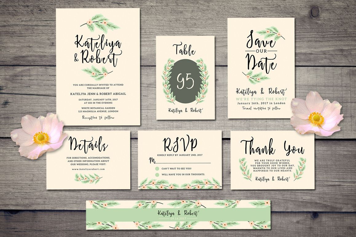 Nature Wedding Invitation Suite example image 1