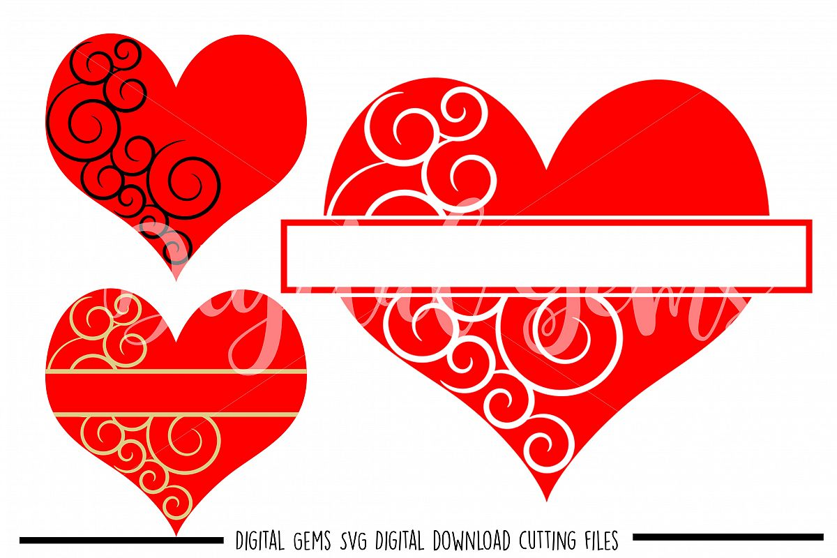 Heart SVG / DXF / EPS / PNG files example image 1
